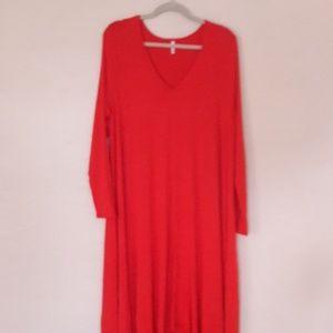 LUCKY red long sleeve hi lo dress